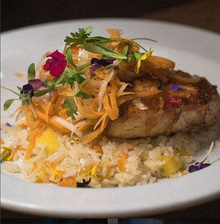 Lewisburg, PA: Swordfish w/ mango fried rice and daikon-carrot slaw