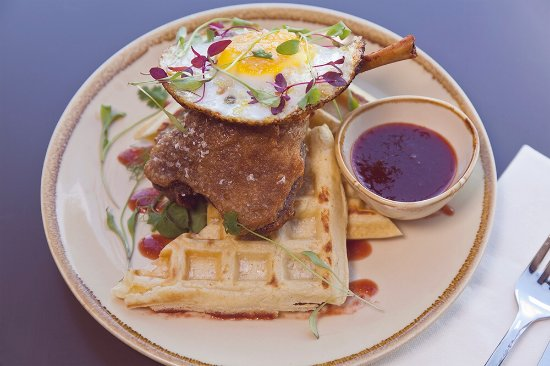 Harbour & Browns: Confit duck leg with salted waffle