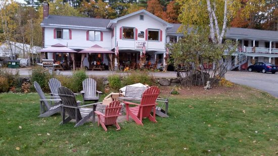 Cottage Place on Squam Lake : The main building and fire pit where some wonderful friends were made on many an evening.