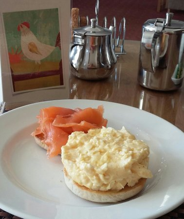Two Beaches: Smoked Salmon &Scrambled Egg served on a Toasred Muffin