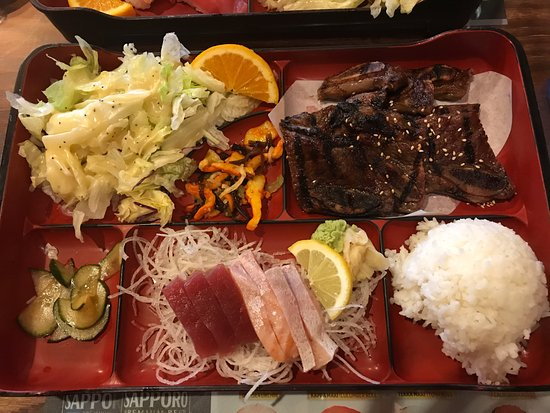 Sapporo & Sushi Restaurant: Short Ribs and Sashimi Bento Box
