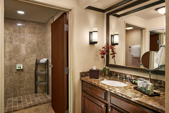 Glass enclosed shower and marble vanity - Picture of Gainey Suites ...