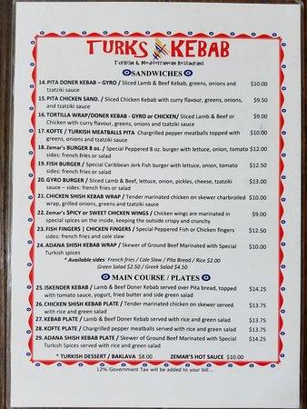 Turks Kebab: menu