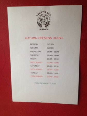 AUTUMN OPENING HOURS 2017