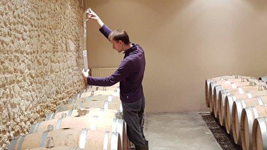 Listrac-Medoc, Frankrijk: Controle van de vaten.