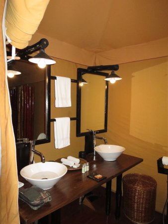 Khem Villas: His and hers basins in a tent! Luxury!