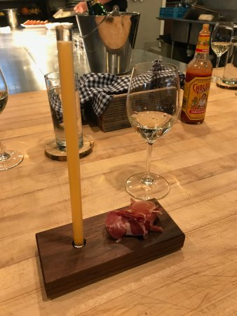 De Beque, CO: House-cured coppa with a mango shooter straw