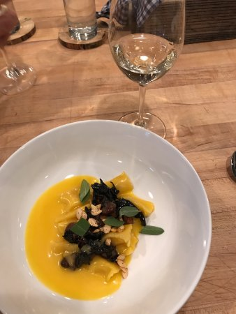 De Beque, CO : Butternut squash gnocci in a creamy sauce, with fresh sage and pepitas