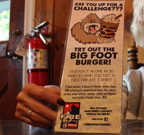 Toutle, WA: Bigfoot burger challenge