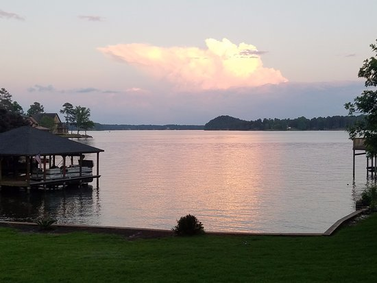 Valley, AL: Sunset over Lake Harding.  Storm clouds in the east.