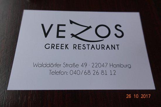 Visitenkarte Picture Of Vezos Hamburg Tripadvisor