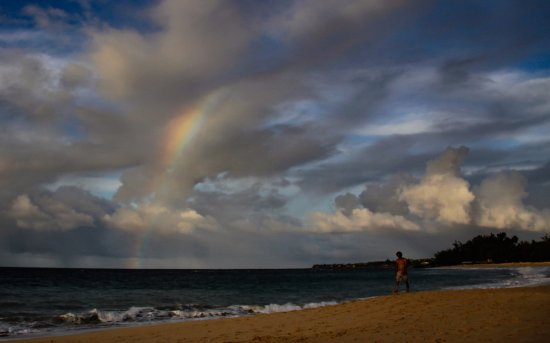 A rainbow over Baldwin Beach Park, Paia, 10-4-17