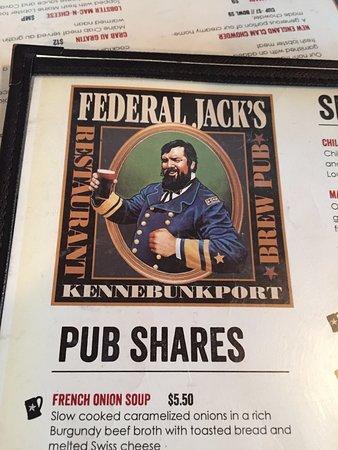 Federal Jacks Restaurant and Brewpub : menu