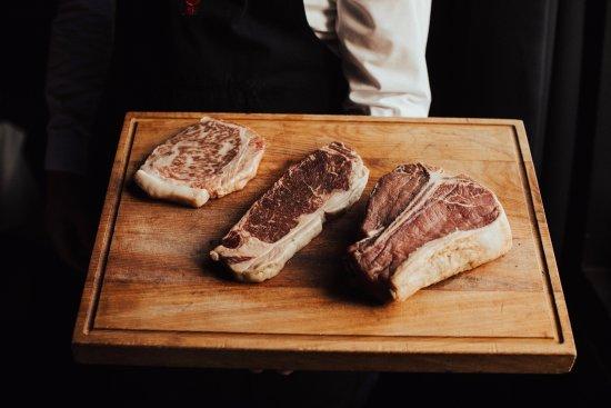 Jervois Steak House: From left to right: Japanese Wagyu Sirloin A5, Robbins Island Sirloin, 800g T-Bone
