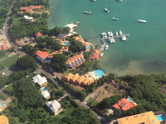 True Blue Bay Boutique Resort: Resort from plane