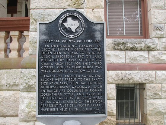 Gatesville, TX: Texas Historical Marker for the Coryell County Courthouse.