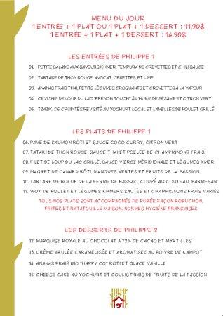 Le Bistrot De Philippes Menu Du March En Franais Carte Visite Anglais
