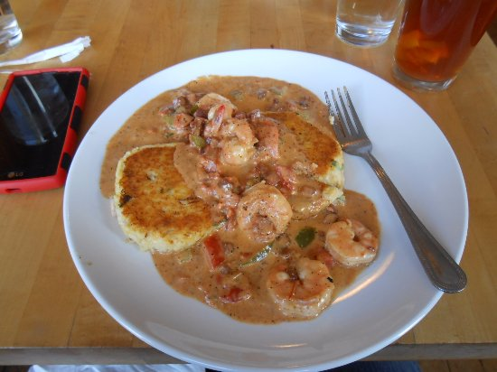 Floyd, VA: Shrimp & [Scallion & Gouda]Grits (cakes) with Tasso ham, vegetables and herbs in a rich sauce.