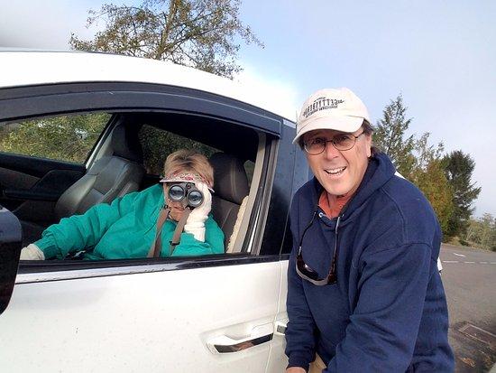 Reedsport, OR: Selfie and binocular babe