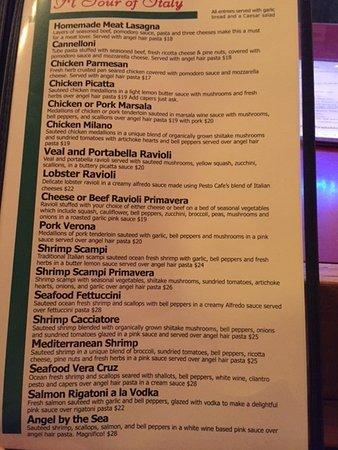 Pesto Cafe Fayetteville Menu