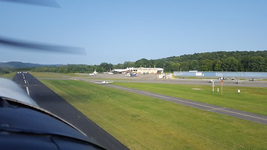 West Milford, NJ: View of the Main Office and Hangars from the runway