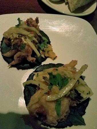 32 East: CALAMARI TACOS with squid ink tortilla