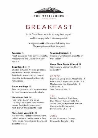 Ohakune, New Zealand: Matterhorn Breakfast Menu Summer 2017