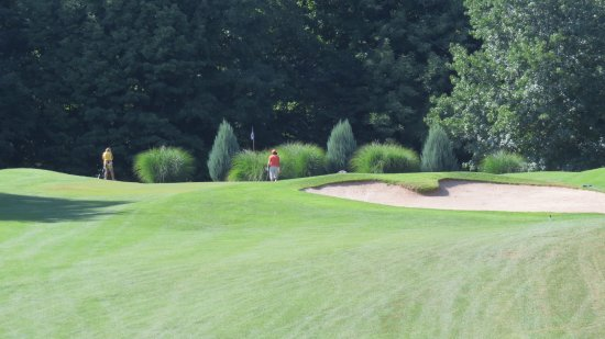 Sodus Point, NY: Hole #13 green, an uphill short to mid iron shot to a large but difficult green