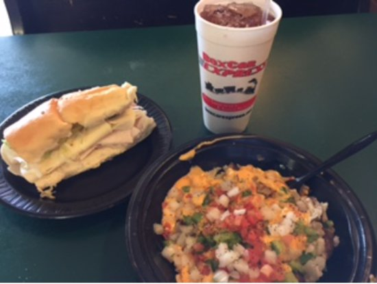 Lieber's Boxcar Express: Ham & Cheese with a baked potato with several toppings