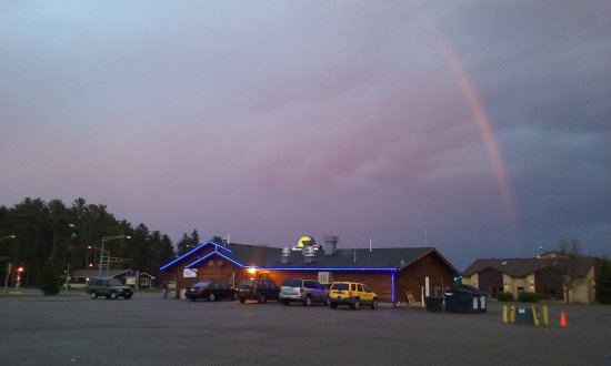 Eagle River, WI: Side view with outside lighting