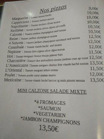 Lepin-le-Lac, France: Carte et pizza