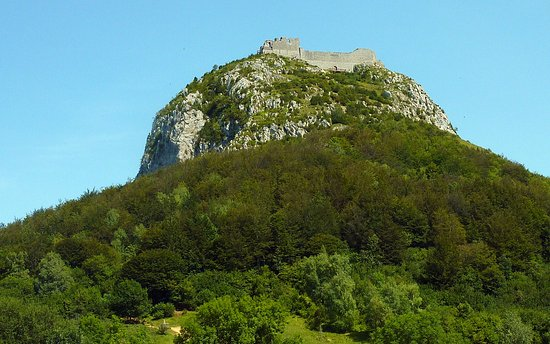 Chateau de Montsegur from the Col