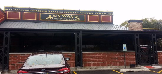 Anyway's Restaurant: entrance to patio dining at Anyway's American Grill & Pub