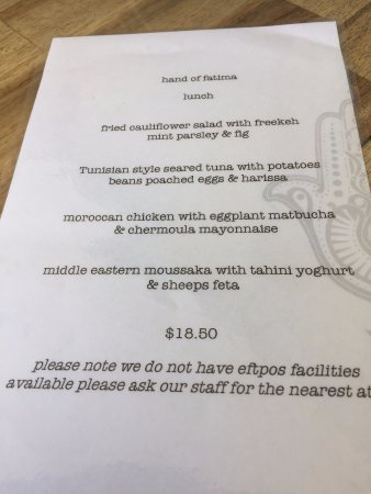 Peregian Beach, Australien: lunch menu