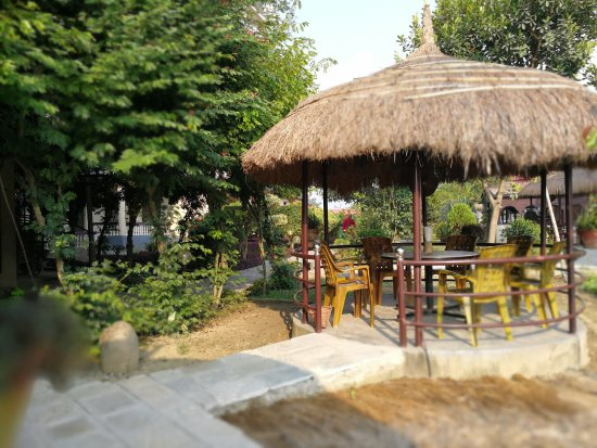 Hotel Monalisa Chitwan: The pagoda's are a great place for drinks, breakfast, dinner or just relaxing.