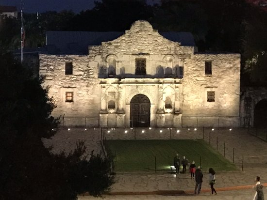 1718 Steak House: View of the Alamo from our table,
