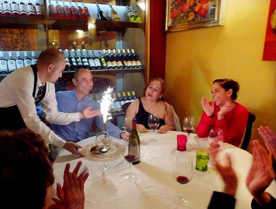 Da Massimo Restaurante Italiano : They celebrated Alberto's birthday with treats for everyone.