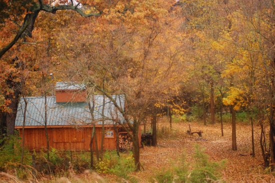 """Greenville, OH: The """"Sugar Shack"""" as seen during peak autumn colors."""