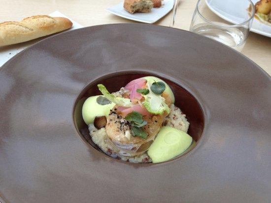 Le Patio: Cod on mushroom quinoa risotto wit leek sabayon sauce