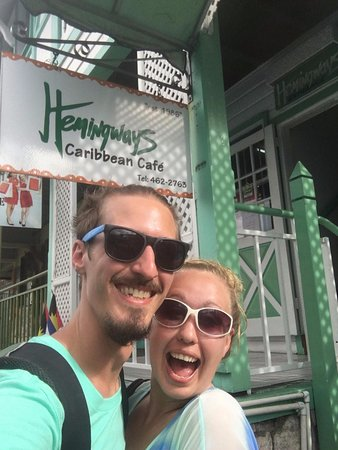 Hemingways Caribbean Cafe: Ryan and I outside the restaurant...had to get a selfie!