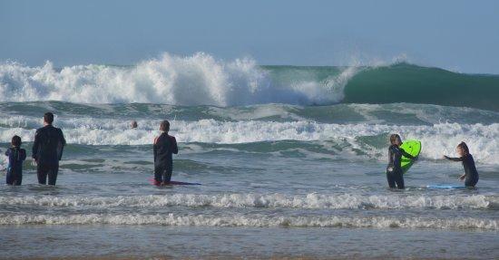 Gwithian Beach: surfers