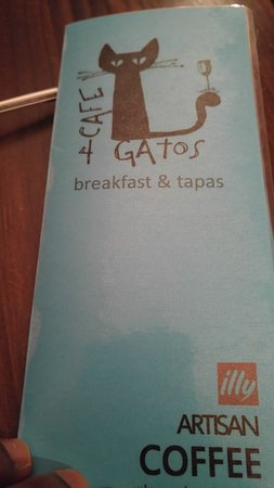 Cafe 4 Gatos: The menu