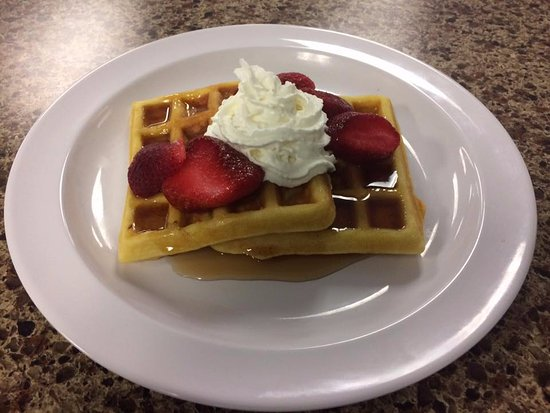 Winsted, CT: Fresh Made Waffles with Strawberries & Whip Cream