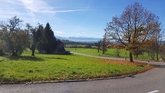 Hittnau, Sveits: colourful fall season in Switzerland with blue sky