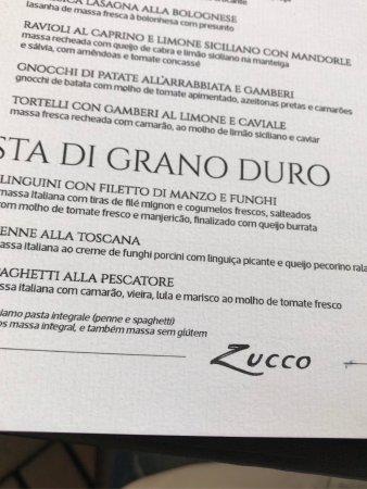 Cardápio Zucco