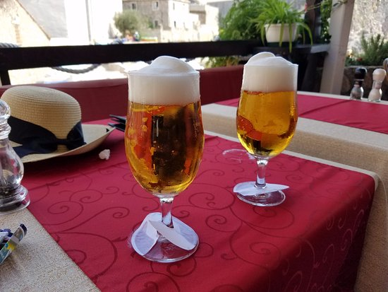 Orhan: Cold draft beer on the terrace looking out on the Adriatic.