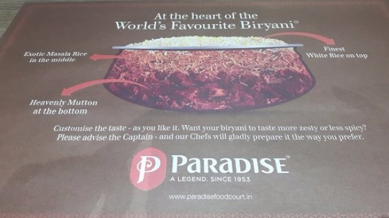 Paradise Restaurant: Table Mat showing how the Biryani is layered