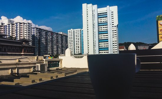 5footway.inn Project Chinatown 1: Drinking a good morning coffee from the rooftop.