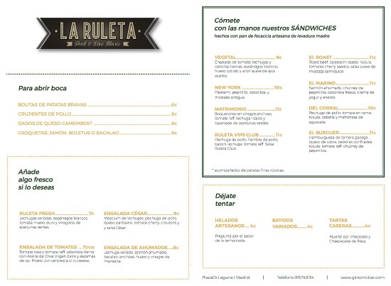 Carta Food Live Music Picture Of La Ruleta Food Live