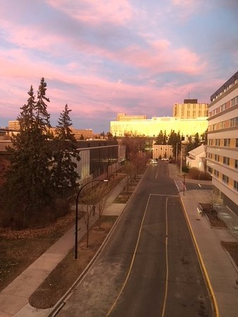 Hotel Alma & Seasonal Residence at the University of Calgary: a room with a view ... sunset reflected on adjacent buiding
